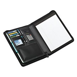 Office Depot Brand® Leather Padfolio, Zipper Closure, Black Junior Zippered Padfolio