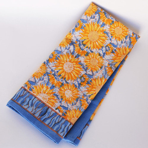 Couleur Nature Sunflower Yellow Blue Tea Towel (Set of 3)