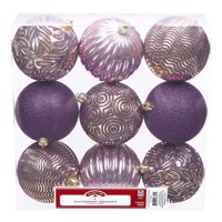Holiday Time Shatterproof Ornaments, 9-Count, Purple Gold