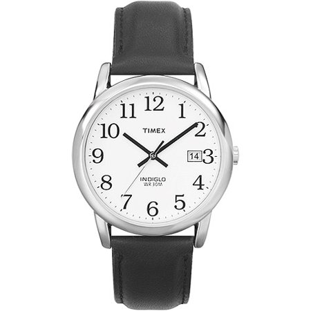 Timex men 39 s easy reader watch black leather strap for Leather watch for men