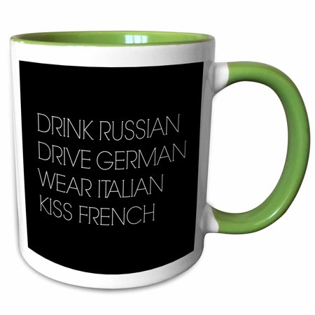 3dRose Drink Russian Drive German Wear Italian Kiss French - Two Tone Green Mug, - Italy Drink