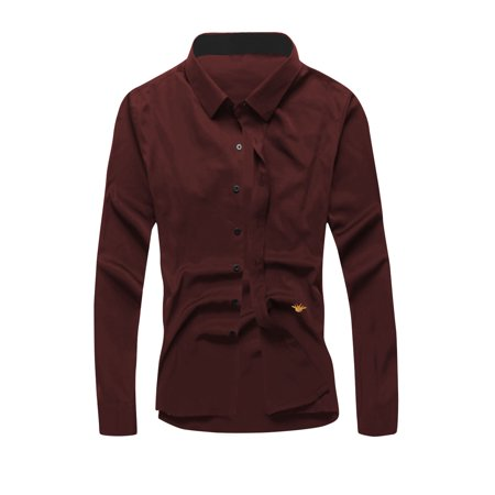 b20828038e7 Men's Point Collar Long Sleeves Button Closure Casual Shirt Red M