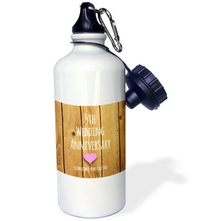 3dRose 5th Wedding Anniversary gift - Wood celebrating 5 years together - fifth anniversaries five yrs, Sports Water Bottle,