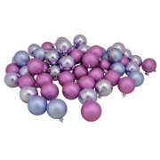 """60ct Pink and Purple Shatterproof 4-Finish Christmas Ball Ornaments 2.5"""" (60mm)"""