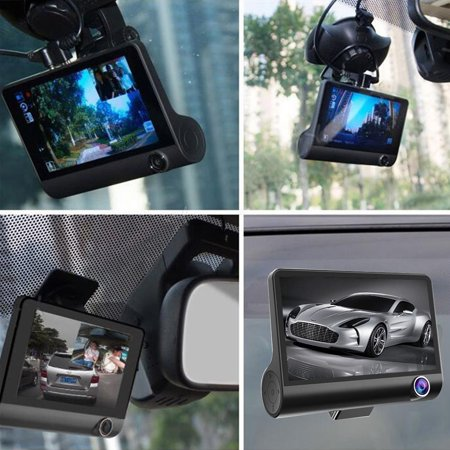 Three Lens Dash Camera for Cars, 4'' Dash Cam FHD 1080P Car Vehicle Dashboard DVR Camera Video Recorder Black - image 1 of 8