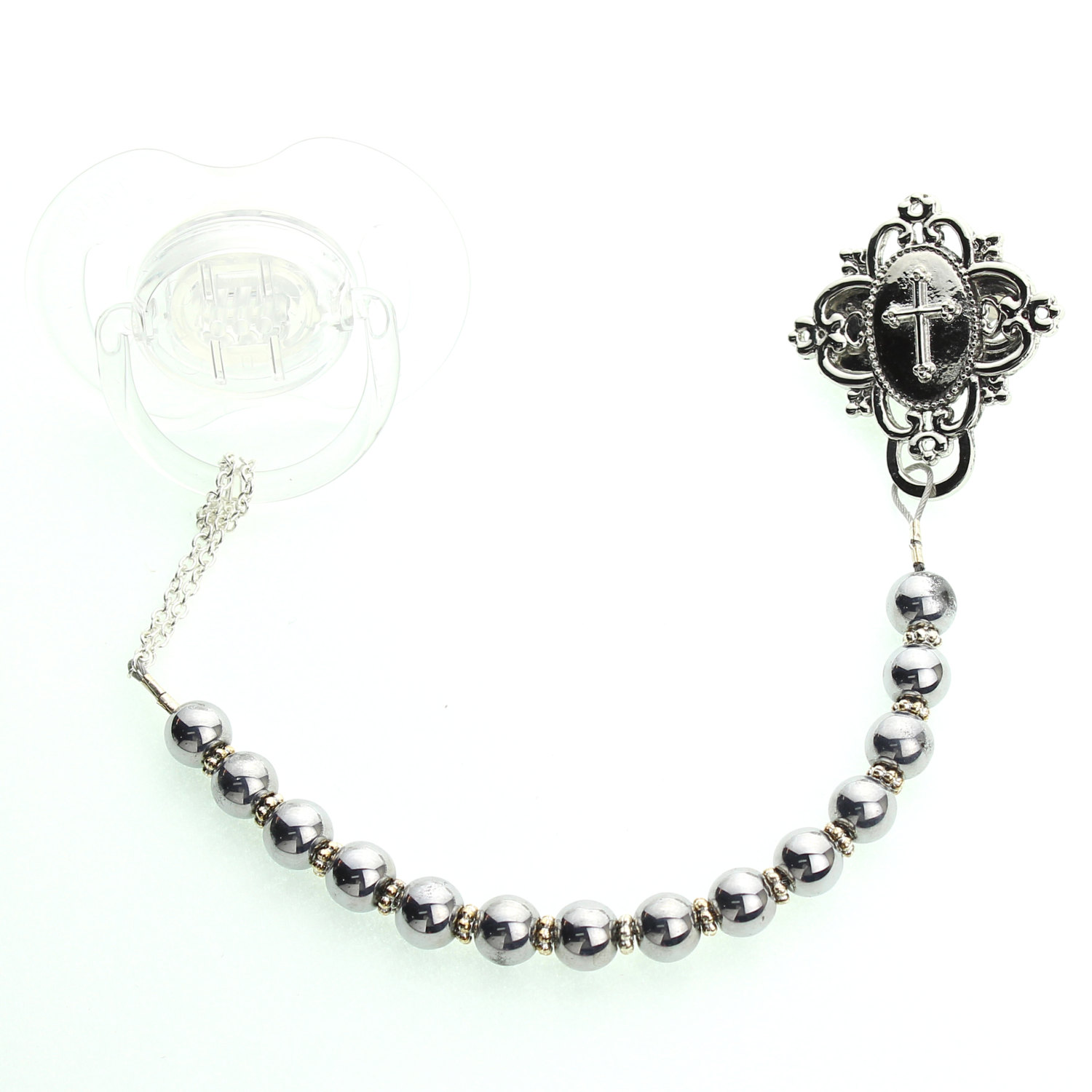 Cross with Silver Tone Pearls Pacifier Clip