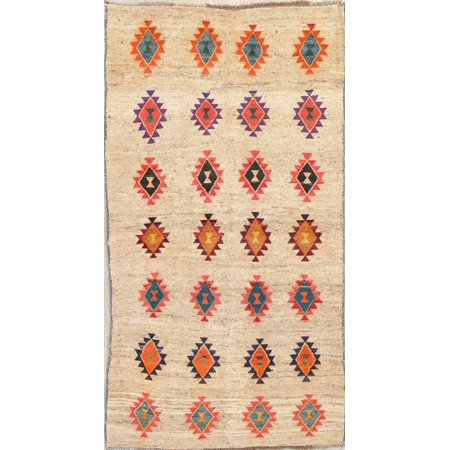 Gabbeh 4x7 Hand Knotted All-Over Geometric Oriental Area Rug Beige ()