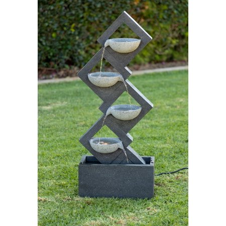 Image of Alpine Calming Zen Four Tiered Wallfall Fountain, 40 Inch Tall