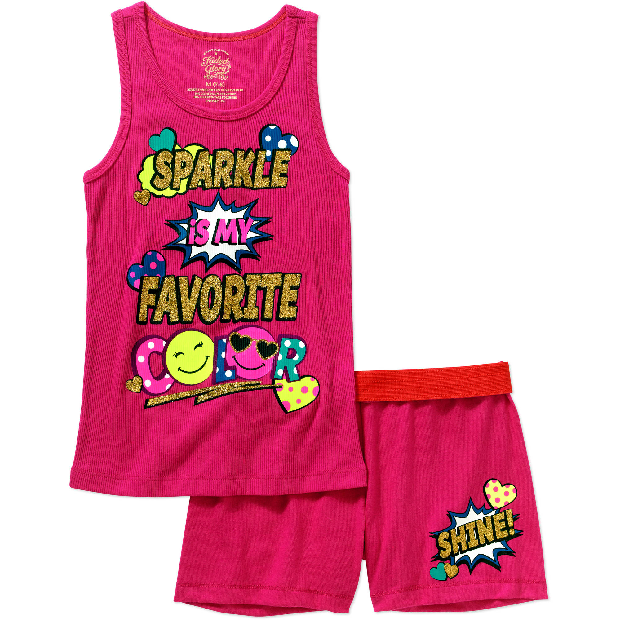 Faded Glory Girls' Graphic Tank and Graphic Shorts Outfit Set
