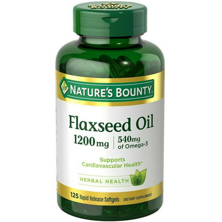 Nature's Bounty Flaxseed Oil Softgels, 1200 Mg, 125