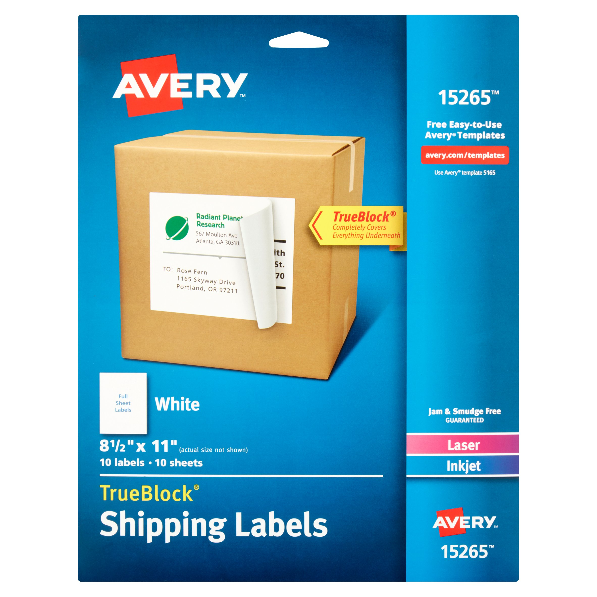 "Avery White Shipping Labels with TrueBlock Technology 15265, 8-1/2"" x 11"", Laser/Inkjet, 10pk"