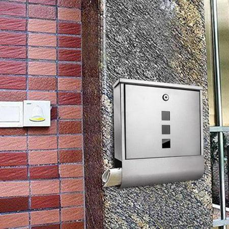 Ktaxon Metal Mailboxes Locking Wall Mount Mailbox, Gray ()