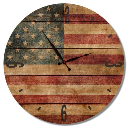 Gizaun Art Rustic Flag Outdoor Wall Clock (Flag Glass Clock)