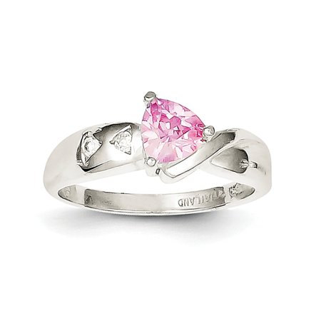 925 Sterling Silver Pink Trillion Cut Cubic Zirconia Solitaire Ring