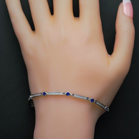 2 Row Channel Set - Single Row Channel Set 2 Carat Round Cut Diamond and Sapphire Station Bracelet in 18k Gold Over Silver