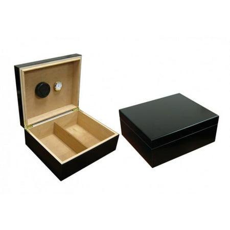 Black Finish Humidor - Chalet Desktop Cigar Humidor - Black Finish - Capacity: 25 to 50