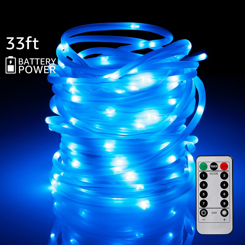 TORCHSTAR LED Night String Light for Outdoor & Indoor, 33ft Blue Rope Lights