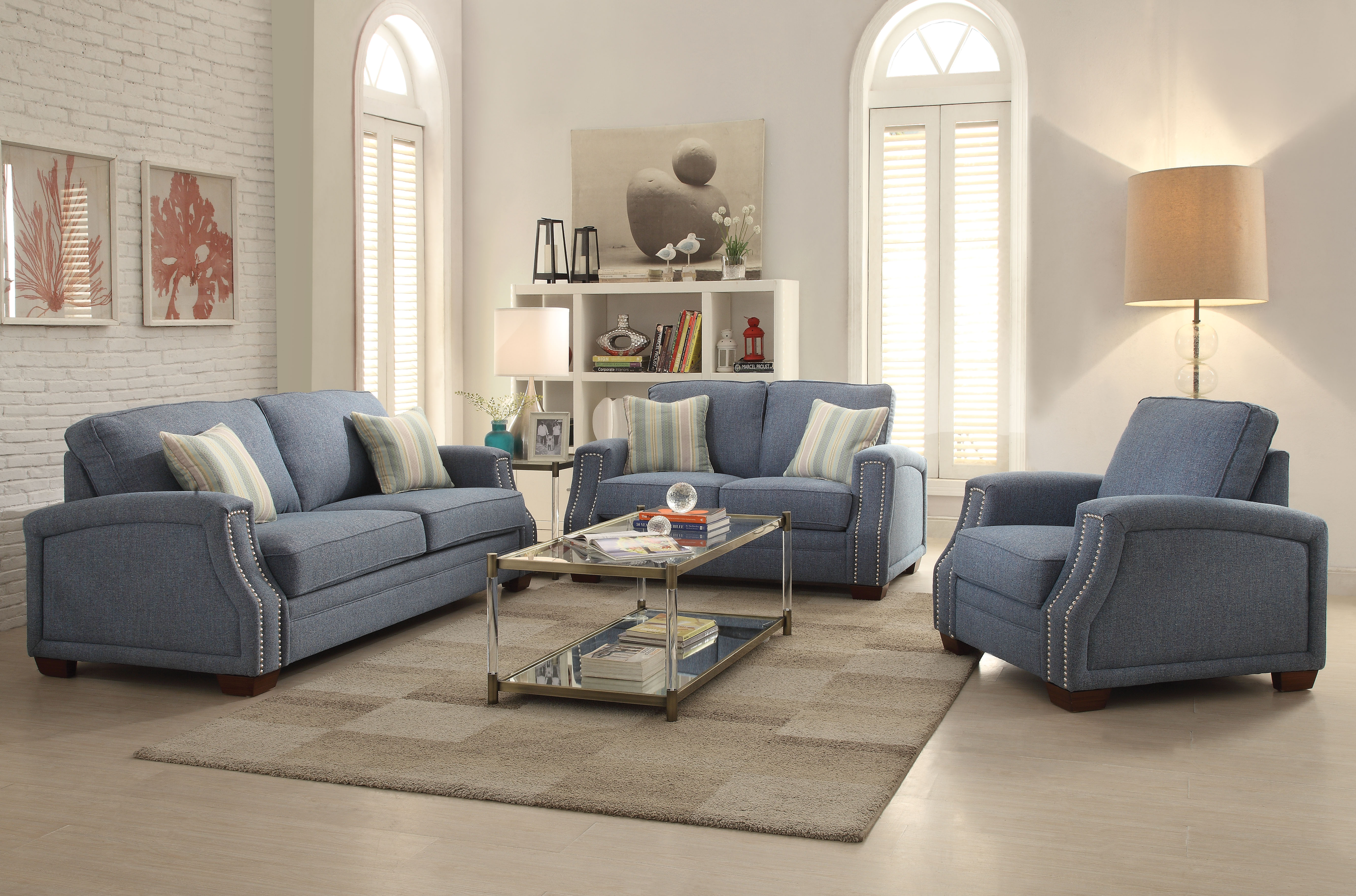 Acme betisa nailhead loveseat with 2 pillows light blue fabric walmart com