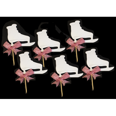 Hand Crafted Ice Skating Shoes Cupcake Decoration Picks Pink Bow