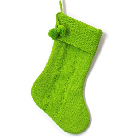 Christmas Stocking, Green Cable Knit with Poms ()