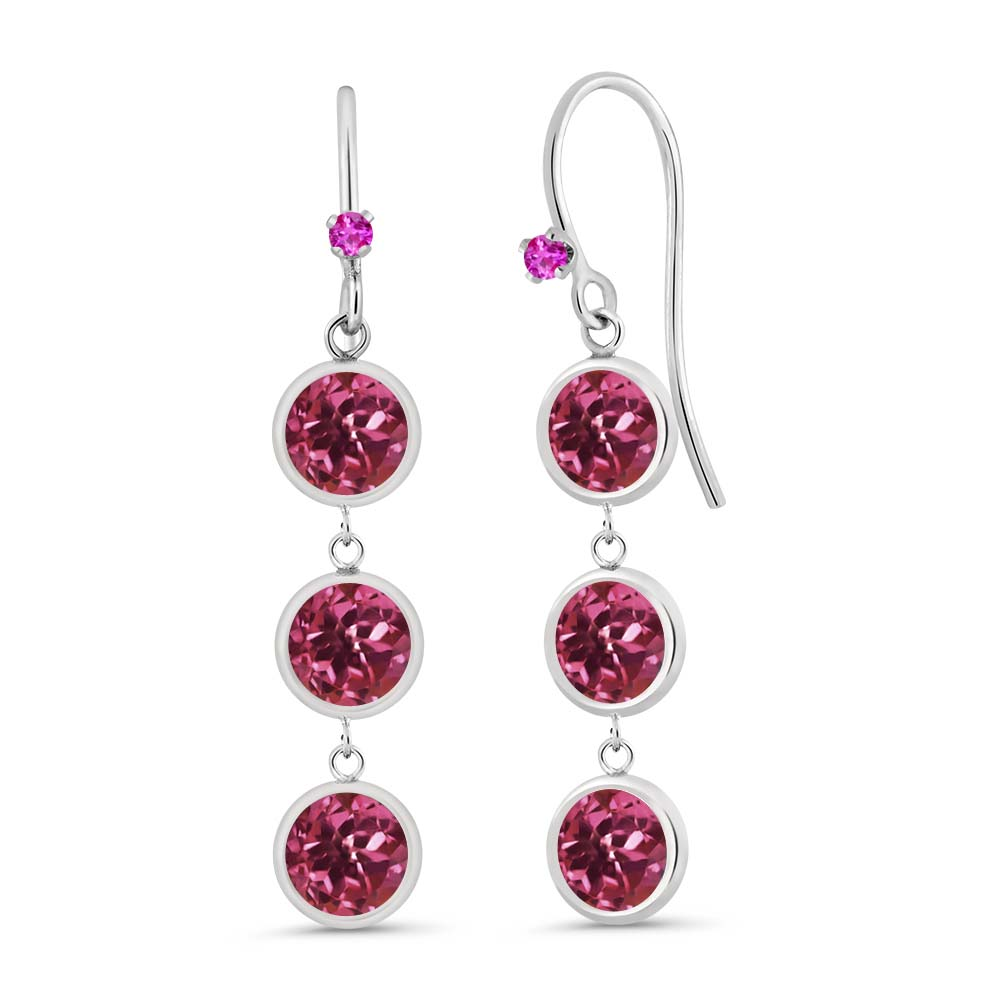 3.04 Ct Round Pink Tourmaline Pink Sapphire 925 Sterling Silver Earrings by