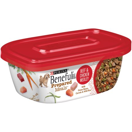 Purina Beneful Prepared Meals Beef & Chicken Medley Dog Food 10 oz. Plastic Tub