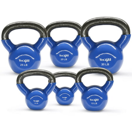 Yes4All Combo Vinyl Coated Kettlebell Weight Sets – Great for Full Body Workout and Strength Training – Vinyl Kettlebells 10 15