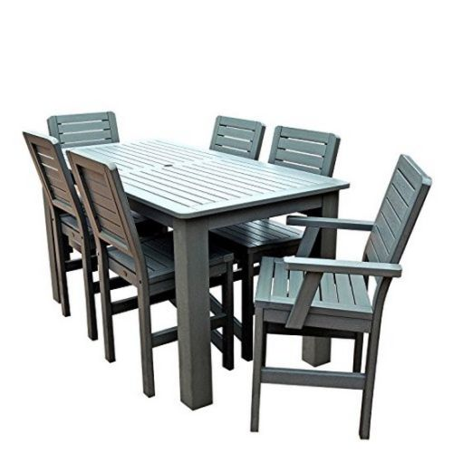 AD-CNW37-CGE All-Weather Coastal Teak Color 4 side & 2 Armchairs plastic furniture Weatherly 7pc... by Highwood USA