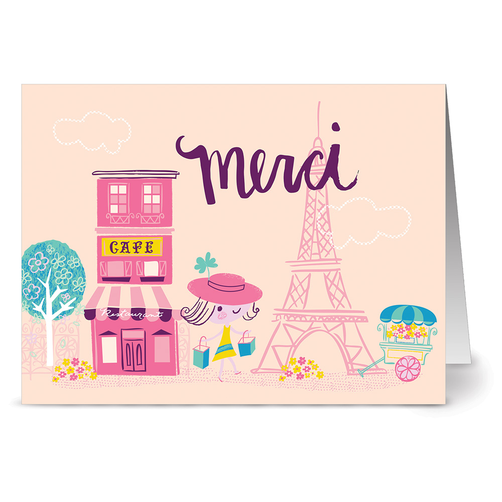 24 Note Cards - Merci Cafe - Blank Cards - Hot Pink Envelopes Included