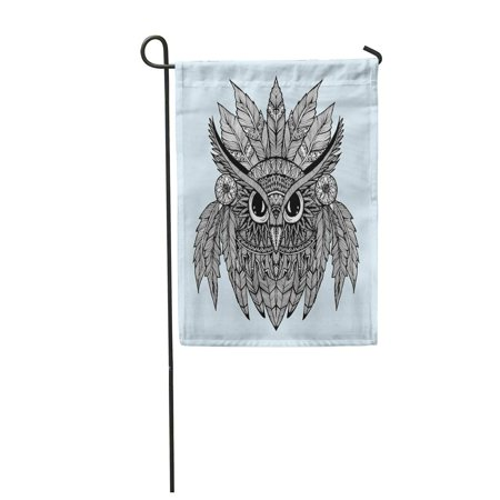 LADDKE Portrait of Owl Head Abstract Bird Profile Line Drawing Black and White Tattoo Garden Flag Decorative Flag House Banner 12x18 inch