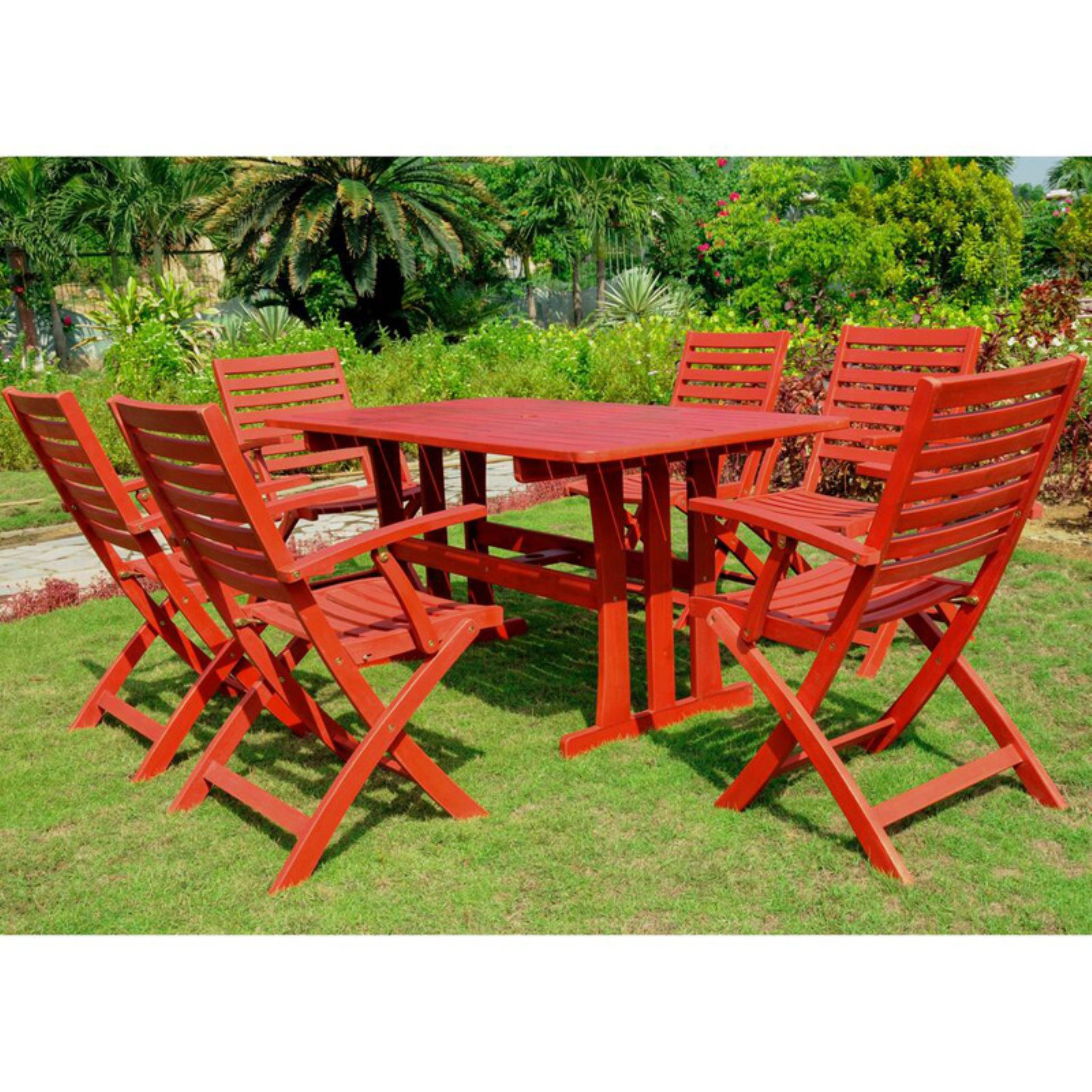 International Caravan Royal Fiji Dublin Acacia Wood 7 Piece Patio Dining Set