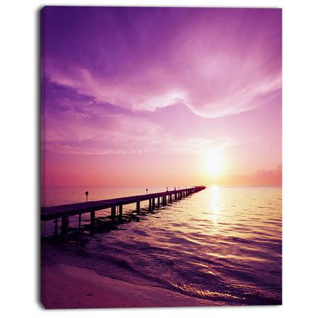 Boardwalk in Purple Seashore - Seashore Canvas Art Print - image 2 of 3