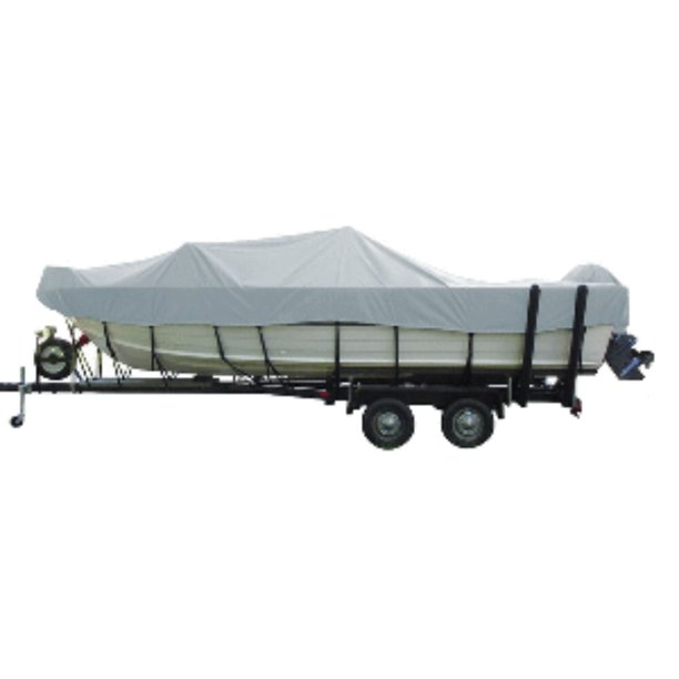 """18"""" Gray Carver Functional Poly-Guard Wide Series Styled-To-Fit For 16.5' Aluminum V-Hull Boat Cover"""