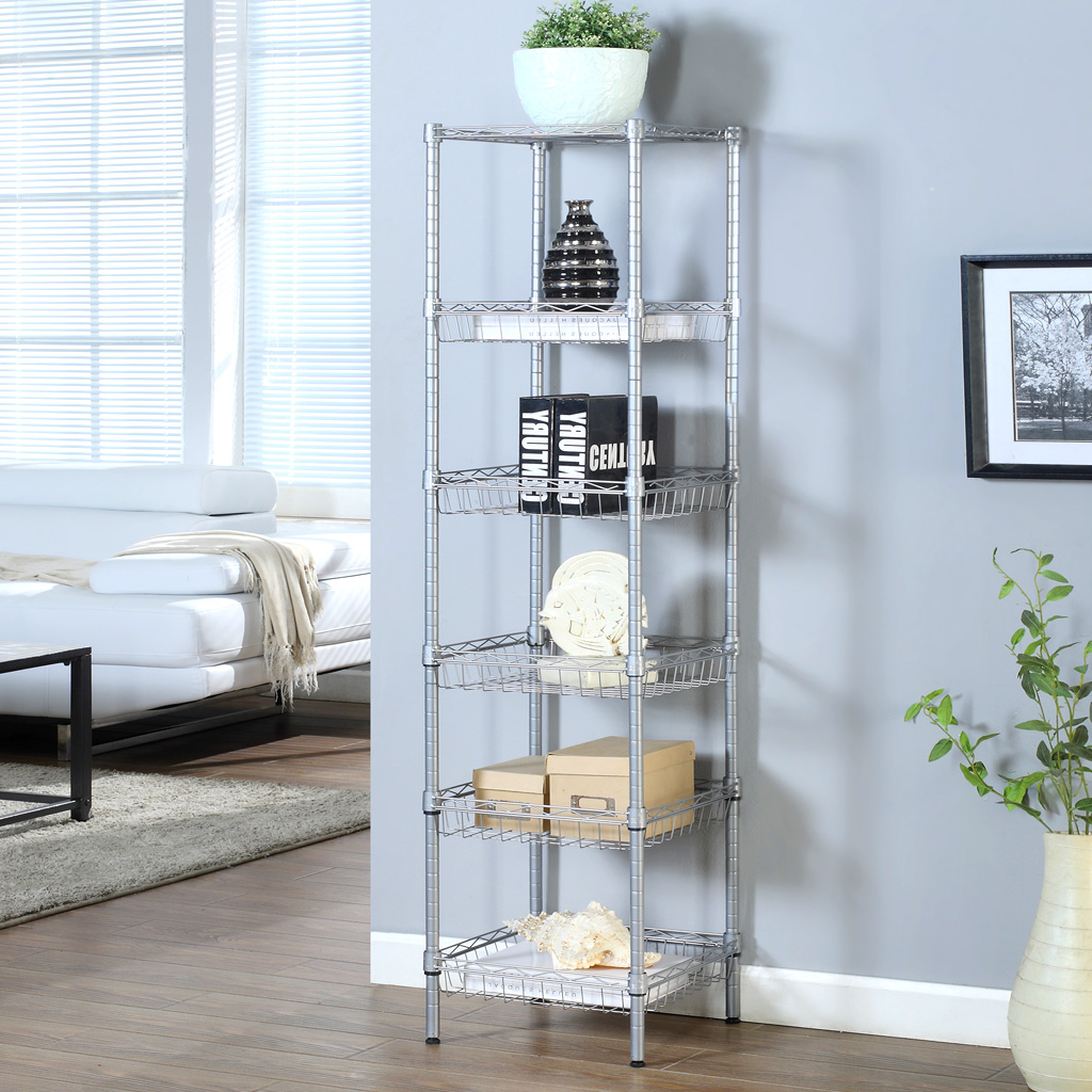 Langria 6 Tier Wire Shelving Metal Wire Shelf Storage Rack Durable