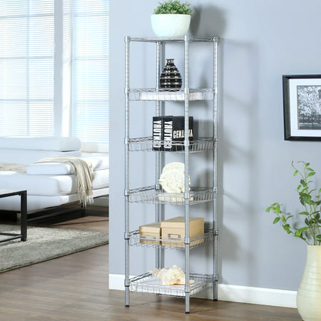 - LANGRIA 6-Tier Bathroom Shelving Baskets Wired Storage Cart Corner Shelf Organization Utility Rack for Home Kitchen Living Room Bedroom Laundry Office, 198 lbs Capacity, Silver