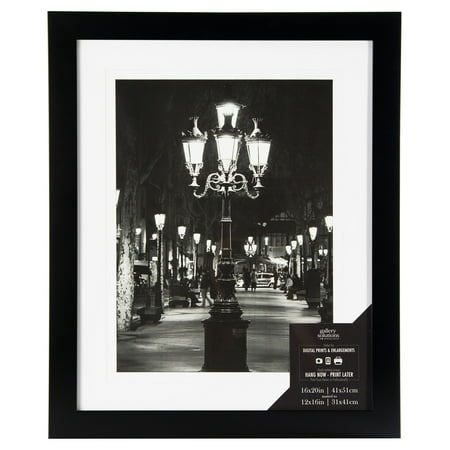 16x20 Wide Flat Black Frame With Mat For 12x16 Image - Walmart.com