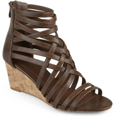 Apepazza Leather Wedges - Brinley Co. Womens Faux Leather Strappy Wedges