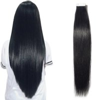 "S-noilite 100g/40pcs Remy Tape in Hair Extensions Skin Weft Human Hair Extensions 40pcs/pack Black,16""-100g"