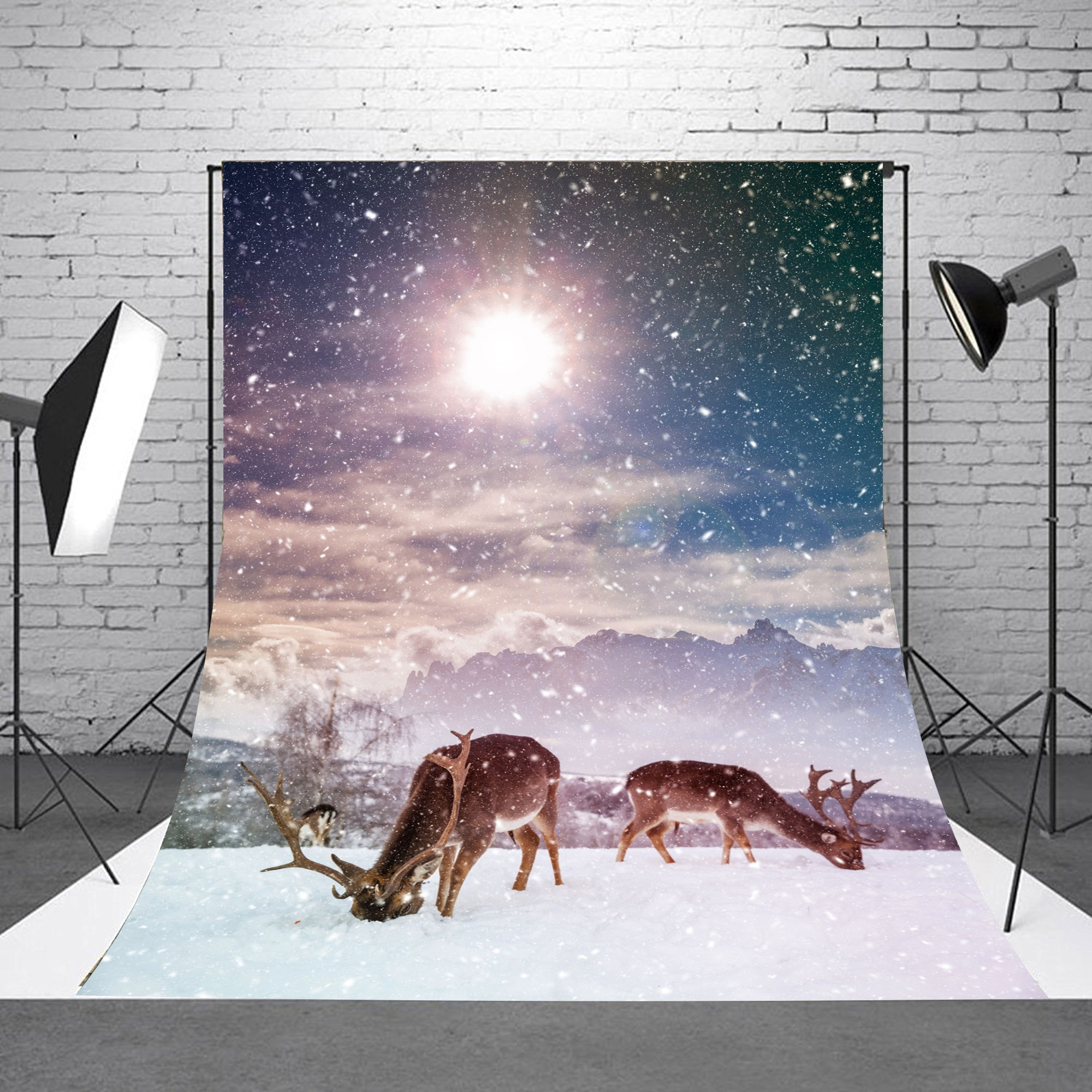 NK HOME Studio Photo Video Photography Backdrops 5x7ft Christmas Slopes & Reindeer Printed Vinyl Fabric Background Screen Props