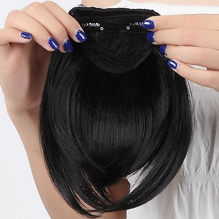 S-noilite Lady Natural Hair Extension Clip In Front Hair Bangs Fringe human Straight Hair Front Hair Extensions 1 pcs Dark (Best Clip In Bang Extensions)
