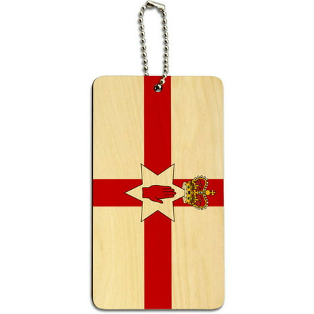 Northern Ireland Flag Ulster Banner Wood Id Tag Luggage Card For Suitcase Or Carry On