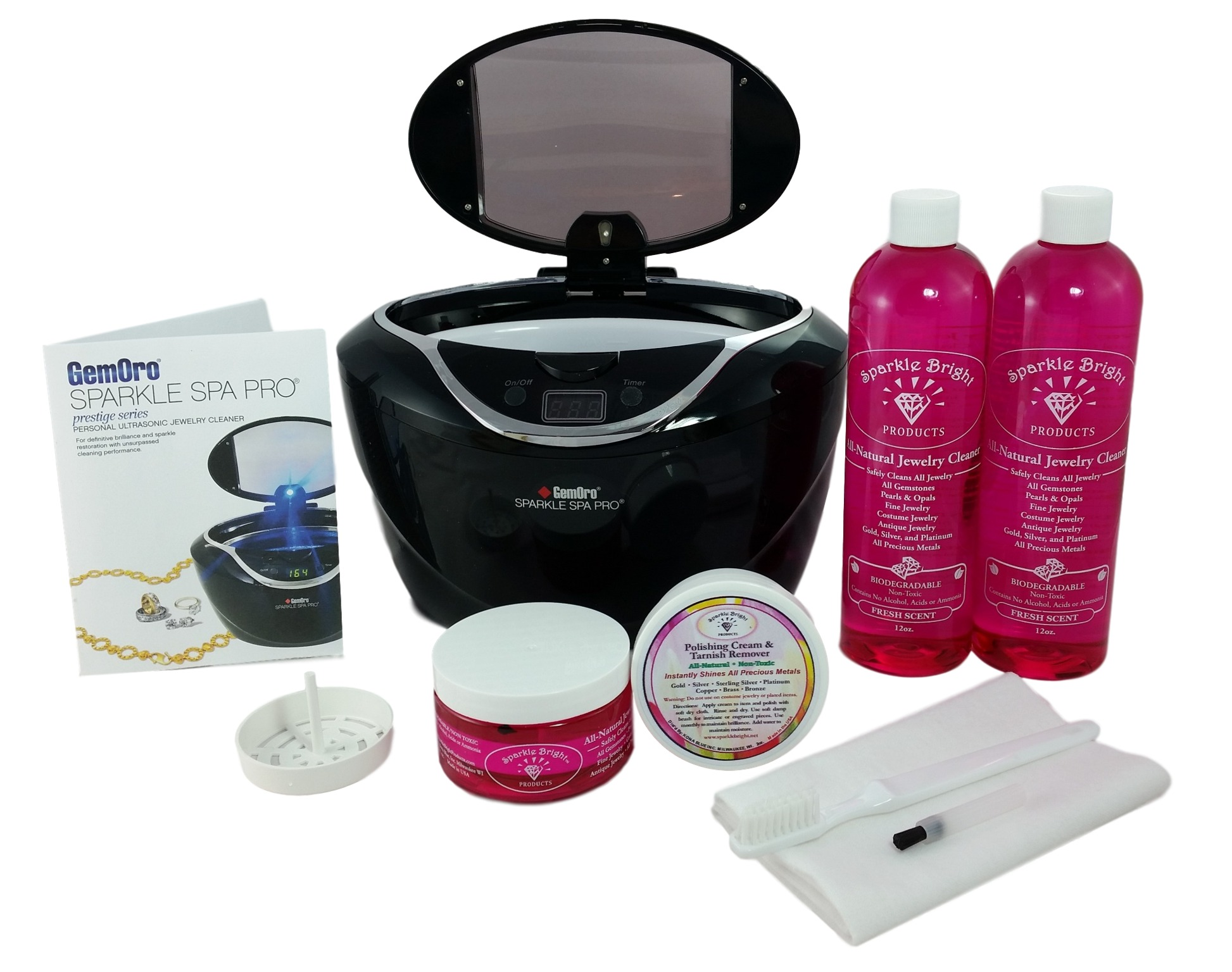 GEMORO 1790 SPARKLE SPA PRO BLACK ULTRASONIC CHOICE JEWELRY CLEANING KIT Includes Sparkle Bright All-Natural Jewelry... by GemOro