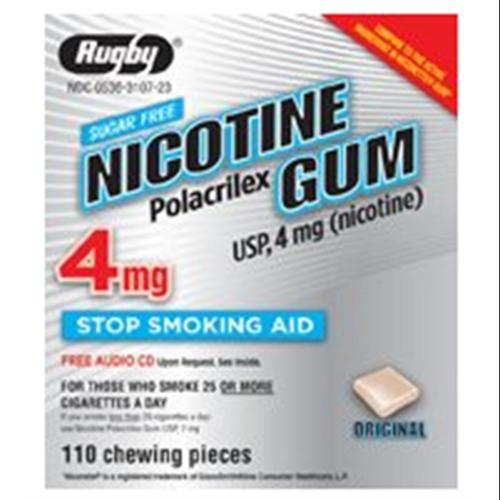 Rugby Nicotine Polacrilex Gum USP 4 mg 110 Each (Pack of 2)