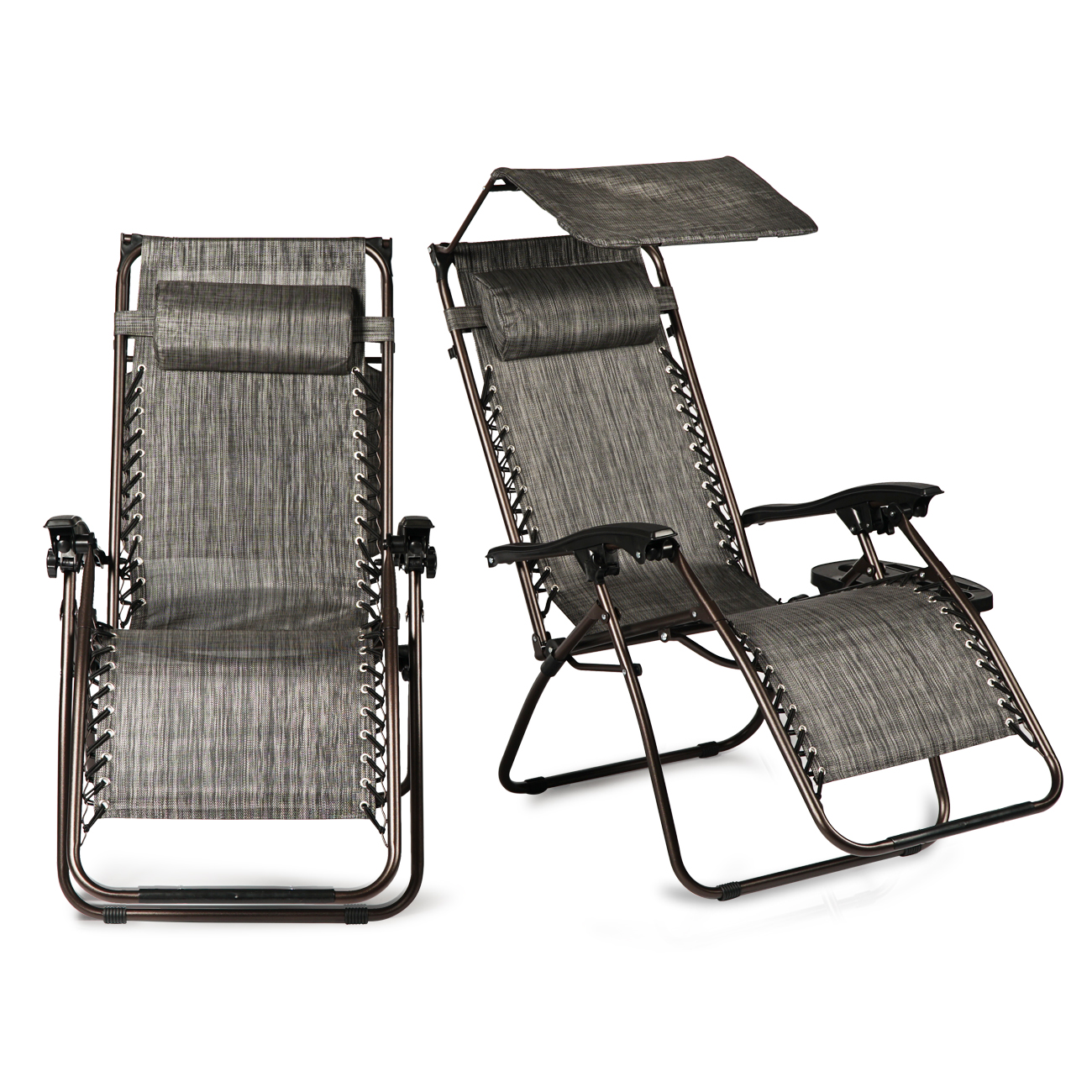 BELLEZE 2PC Zero Gravity Chairs Recliner IPhone & IPad Slots Reclining Headrest w/ Canopy Shade, Gray