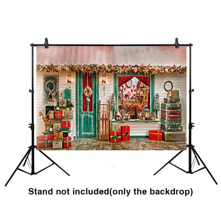 HelloDecor Polyster 7x5ft Christmas Backdrop Elaborately Decorated Storefront Along the Street Background for Photography or