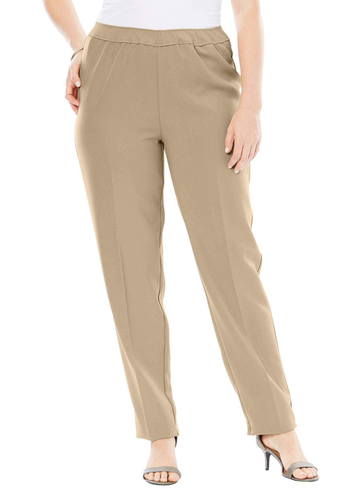 Roamans Plus Size Petite Bend Over Classic Pant
