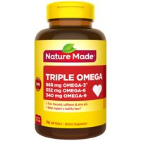 Nature Made Triple Omega 3-6-9, Two a Day Softgels, 74 Count Value Size for Heart Health?