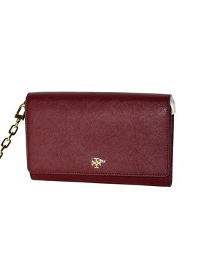 Tory Burch Women's Emerson Chain Wallet Shoulder Bag Cross Body Bag in Imperial Garnet