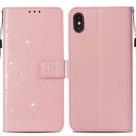 Ustyle Replacement for iPhone Xs Max Rhinestone Case Flip Wallet Cover Phone Holder Elegant Solid PU Leather Cover - image 6 of 9