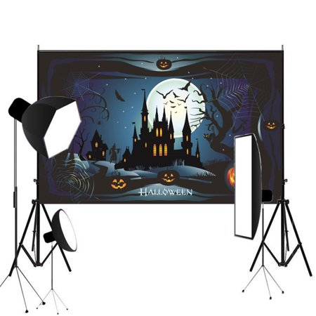 NK HOME Studio Photo Video Photography Backdrops 5x7ft Happy Hallowe'en Photo Background Pumpkin Face Castle Backdrops Vinyl Fabric Party Decorations Background Screen Props - Cute Happy Halloween Background